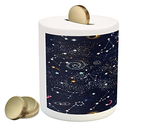 Lunarable Constellation Piggy Bank, Star Clusters Galaxies and Planets Astrology Themed Abstract Illustration, Printed Ceramic Coin Bank Money Box for Cash Saving, Multicolor