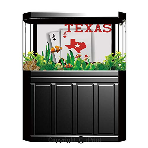 (Terrarium Fish Tank Background,Poker Tournament Decorations,Texas Holdem Theme Pair of Aces with Map Winning Hand Decorative,Red Black White,Photography Backdrop for Pictures Party Decoration,W48.03