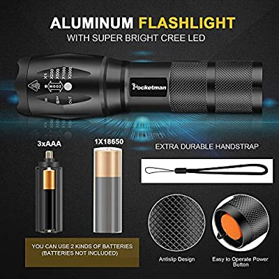 Ultra-Bright Flashlights, 2000 Lumens XML-T6 LED Tactical Flashlight, Zoomable Adjustable Focus, IP65 Water-Resistant, Portable, 5 Light Modes for Indoor and Outdoor,Camping,Emergency,Hiking (2 Pack)