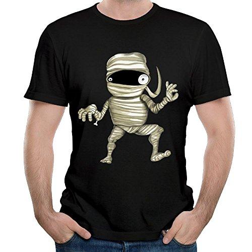 (SmallHan Men's Aval Mummy Casual Style Walk Black Shirt 4XL Short Sleeve)