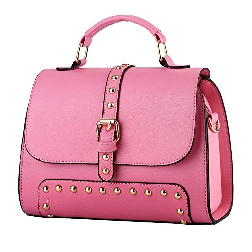 Desklets Women's Simple Style Buckle Tote Bags Top Handle Handbag(Pink)