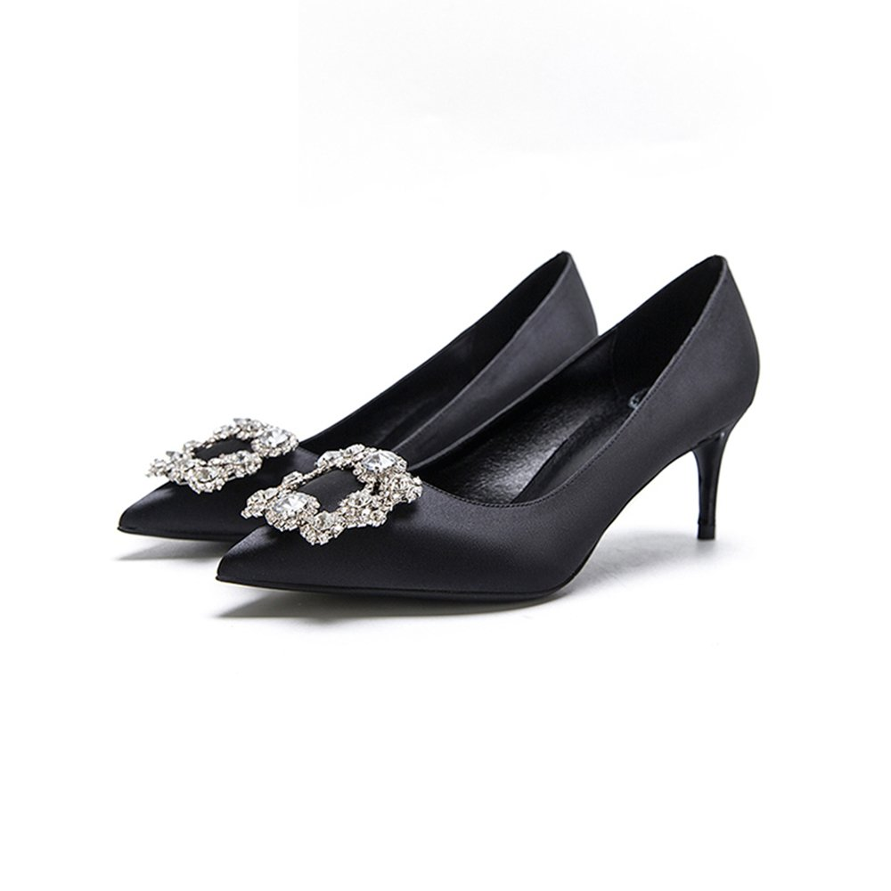 6cm schwarz Brautschuhe, High Heels, feine Ferse flachen Mund Satin ( Strass Quadrat Schnalle einzelne Schuhe ( Satin Farbe : schwarz6cm , größe : 38 ) schwarz6cm 70f472