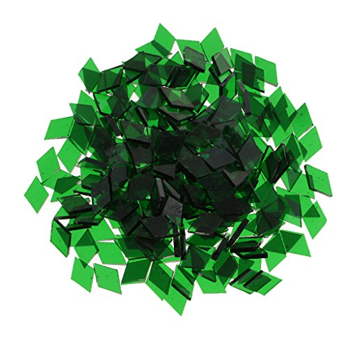Jili Online Wholesale Lot Glass Pieces Mosaic Tiles Tessera for DIY Arts Crafts Home Decoration Various Shape Size Color to Choose - Green, 10mm x 10mm Rhombus from Jili Online