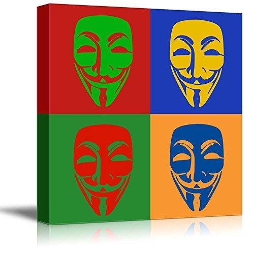 wall26 - Canvas Wall Art - Multi-Color Pop Art with Anonymous Mask - Giclee Print Gallery Wrap Modern Home Decor Ready to Hang - 24