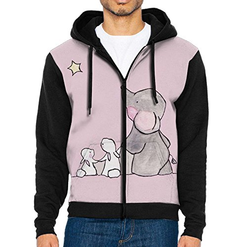 LUANSH Valentine's Day Elephants and Rabbits 3d Raglan Hoodie Zip Up Pockets Color Block Sweater 90s For (Rabbit Sun Fun Mix)