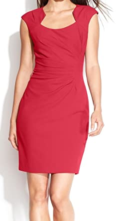 73f6adf0cb1e Image Unavailable. Image not available for. Color  Calvin Klein Womens  Petites Pleated Cap Sleeves Wear to Work Dress ...