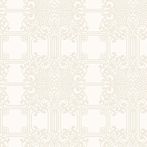 (York Wallcoverings EK4142 18 Karat Ii The Plaza Wallpaper Cream, Silver Glass Beads)