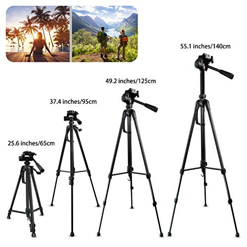 Camera Tripod, UBeesize 55-Inch Lightweight Aluminum Travel Tripod Stand for Canon Nikon Sony DSLR Digital Olympus Video Camera with Universal Smartphone Mount & Carry Bag & Bluetooth Remote