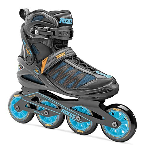 Roces 400817 Men's Model Xenon 2.0 Fitness Inline Skate, US 13, Black/Cyan