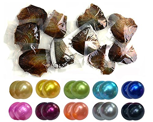 JBENG Twin Pearls Freshwater Cultured Double Love Wish Pearl Oyster with Round Twin Pearl Inside 10 Colors (7-8mm), Valentines Mothers Day Birthday Gifts Pearl Wedding Party (10 Oysters & 20 Pearls) ()
