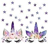 Unicorn Wall Decals, Unicorn Wall Sticker Boys Girls Nursery Wall Decor with Angel Flower Stars Moons Dots Fairytale Decals for Girls Bedroom Decor Nursery Room Home Decor