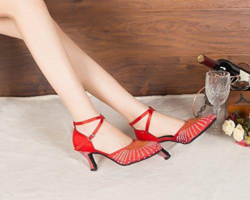 Crc Damesmode Ballroom Latino Tango Salsa Satijn Glitter Puntschoen Dansschoenen Rood