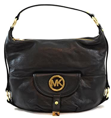 MICHAEL Michael Kors Womens Fulton Leather Textured Shoulder Handbag Black Large