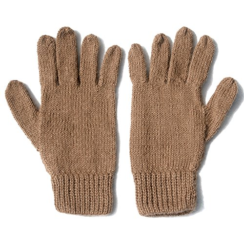 (The Alpaca Collection, 100% Alpaca Wool Knit Gloves Dk Camel Medium)