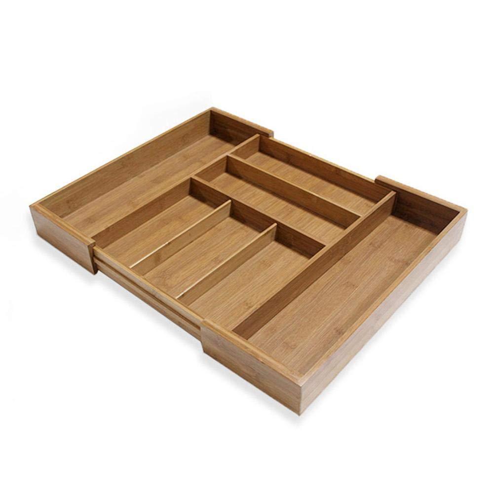 Anna-neek Range Posate per cassetto Estensibile in bambù, Scatola portaoggetti Regolabile in bambù Moderno, Scatola a Organizzatore Multi-fonctions cassetto con Scomparti per la Cucina e l' Ufficio
