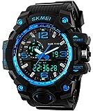 SKMEI Men's SK1155C Multifunctional Outdoor Sports Dual Time Analog Digital Wrist Watch Blue