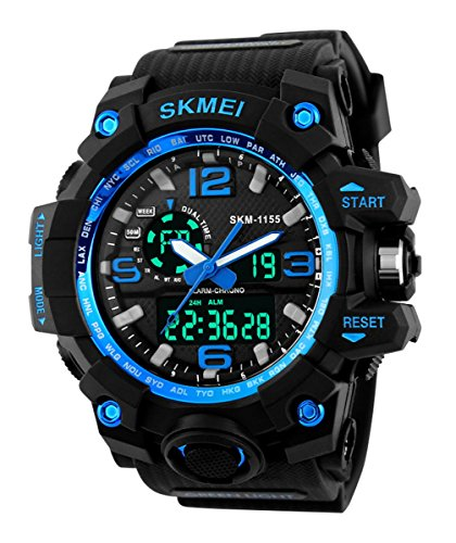 Price comparison product image SKMEI Men's SK1155C Multifunctional Outdoor Sports Dual Time Analog Digital Wrist Watch Blue