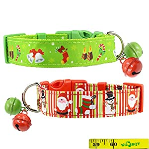 "2 Pack Cute Soft Adjustable Sturdy Nylon Festive Christmas Holiday Collars with 2 Bells for Medium to Large Dogs, 1 Inch Wide (12""-17"")"