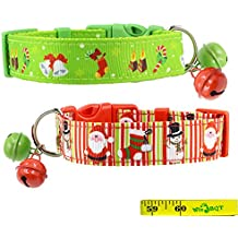 """2 Pack Cute Soft Adjustable Sturdy Nylon Festive Christmas Holiday Collars with 2 Bells for Medium to Large Dogs, 1 Inch Wide (12""""-17"""")"""