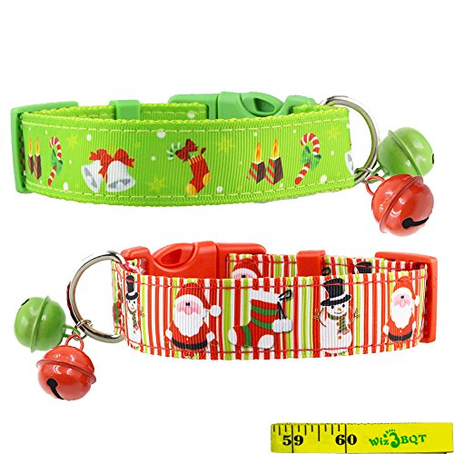 2 Pack Cute Soft Adjustable Sturdy Nylon Festive Christmas Holiday Collars with 2 Bells for Medium to Large Dogs, 1 Inch Wide (12