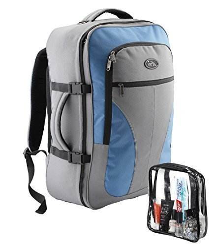 Rick Steves Convertible Carry On (Cabin Max Palermo Carry-on luggage Cabin bag Detachable Toiletry Bag 44 litres (Grey/Blue))