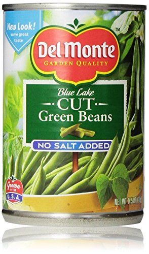 Snap Green Beans - Del Monte Blue Lake Cut Green Beans, No Salt Added 14.5 Oz (Pack of 6)