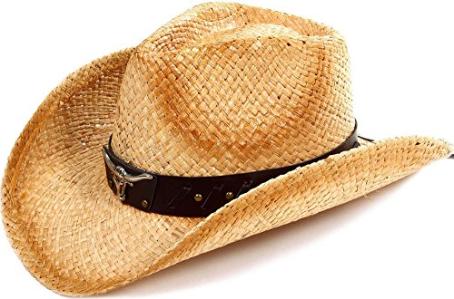 (Simplicity Kid's Two-Toned Brown Costume Cowboy Straw Hat with Metal Bull Decor)