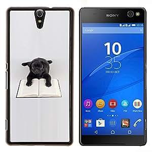 Negro juguete Pug Dog Libro de lectura Libros- Metal de aluminio y de plástico duro Caja del teléfono - Negro - Xperia C5 E5553 E5506 / C5 Ultra