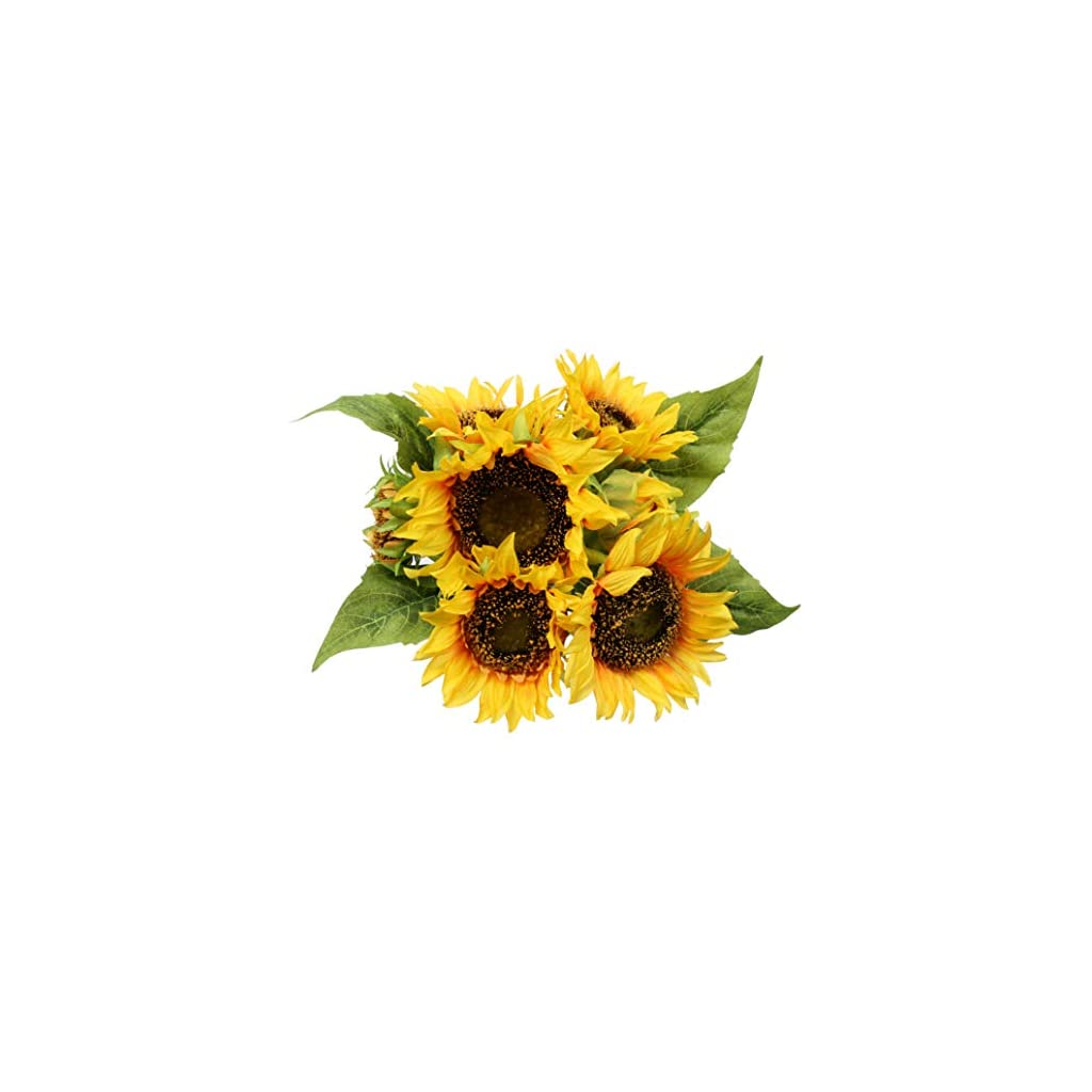 famibay Artificial Sunflower Bouquets 7 Floral Head Vantage Fake Sunflowers Silk Plastic Plants with Stem for Home Decoration Wedding Party Garden Hotel(Orange)