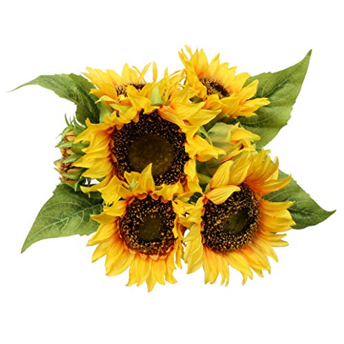 - famibay Artificial Sunflower Bouquets 7 Floral Head Vantage Fake Sunflowers Silk Plastic Plants with Stem for Home Decoration Wedding Party Garden Hotel(Orange)