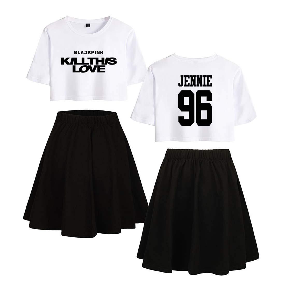 Flyself Kpop Blackpink Kill This Love T-Shirt und R/öcke Damen 2 St/ücke Set Crop Tops Rock Sommer Outfit Aktive Trainingsanz/üge Pyjamas Lisa Jennie Rose JISOO