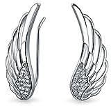 Guardian Angel Feather Wing Sterling Silver Ear Pin Earrings