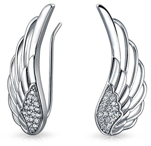 Guardian Angel Feather Wing Sterling Silver Ear Pin Earrings (Angel Birthstone Wing Pin)