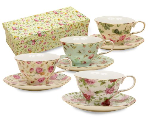 (Gracie China Rose Chintz 8-Ounce Porcelain Tea Cup and Saucer, Assorted colors, Set of 4)