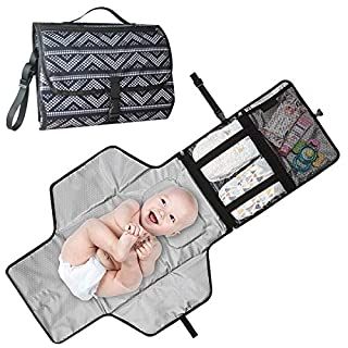 Baby Changing Pad,Portable Diaper Changing Pad Waterproof Portable Changing Pad for Moms Dads and Babies Use just One Hand Memory Foam Baby Head Pillow Pockets for Diapers Wipes and Creams (Blue)