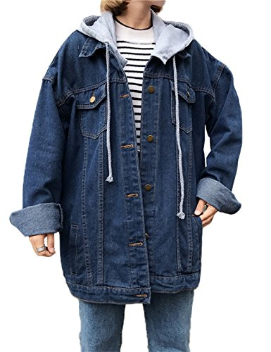 Oversized Denim - Gihuo Women's Drawstring Pockets Boyfriend Denim Jackets with Removable Hoodie (Dark Blue, X-Large)