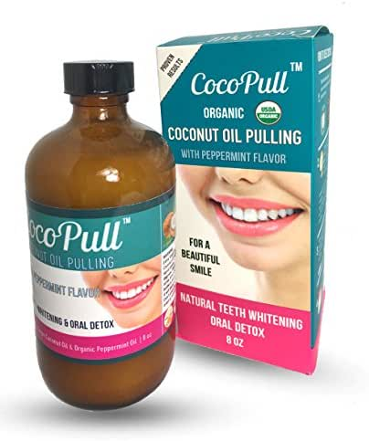 CocoPull-100% Raw Organic Oil Pulling with Coconut Oil and Peppermint Oil. Natural Teeth Whitening. For Healthier Teeth and Gums, Instant Fresh Breath. Bad Breath Remedy (8 floz)