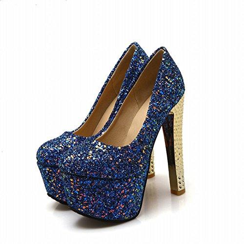 Latasa Womens Sexy Sequins Platform Block High Heel Dress Pumps shoes Dark Blue 9U2fVvvaLZ
