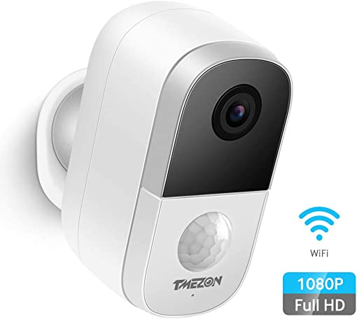 Tmezon Wireless Outdoor Security Camera Battery Powered Rechargeable WiFi Smart Home Security Camera Motion Detection, 1080P Video with 2-Way Audio Support Cloud Micro SD Card Storage