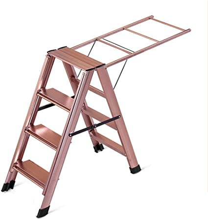 CXLO Tendedero Escalera 4 peldaños 2 en 1 Aleación de Aluminio Resbalón Grueso No se oxida Taburete de Trabajo, Perfil Multifuncional Estante de Secado de Ropa, Peso del rodamiento 150kg: Amazon.es: Hogar