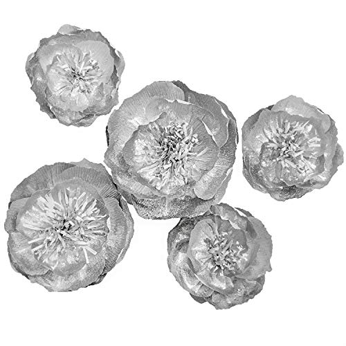 Ling's moment Paper Flower, Large Crepe Paper Flower, 5 X Silver Flowers, Paper Flower Decoration for Wall, Nursery, Wedding, Silver Party, Christmas and Thanksgiving, Fall Decoration for Room by Ling's moment