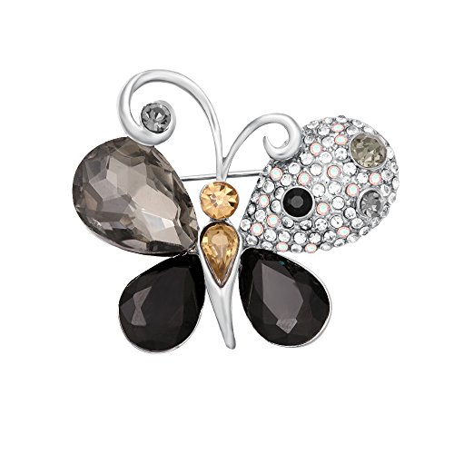 CHUANGYUN Crystal Butterfly Insect Brooch Pin Woman Jewelry (Silver)