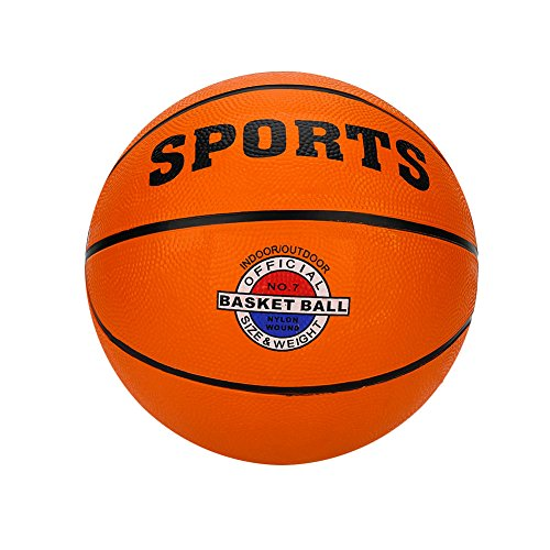 Orange Rubber Playground Basketball for Child Teens and Adults, 9.7'' Diameter Soft and Bouncy Hand Held Sports Game Balls Pool Outdoor Indoor Party Street Basketballs, Official Size 7 by Bling Beauty Shop