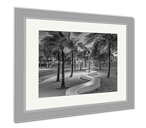 Ashley Framed Prints Fort Lauderdale Beach, Wall Art Home Decoration, Black/White, 30x35 (frame size), Silver Frame, - Ft Shops Lauderdale Beach