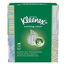Kleenex Lotion Facial Tissues with Aloe & Vitamin E, Cube Box, 75 Tissues per Cube Box, 4 Packs