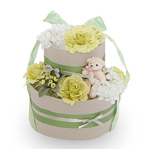 出産お祝いに!【くまのおむつケーキ】おむつケーキ 可愛い 豪華 ピスタチオ グリーン 赤ちゃんへの内祝い 可愛いオリジナルメッセージカード付き! 好きな文章を印刷してお贈りします! パンパースMサイズ 日本製 テディベアのキーホルダー付き 女の子 男の子 ダイパーケーキ (2段)   B07MH9CQSC