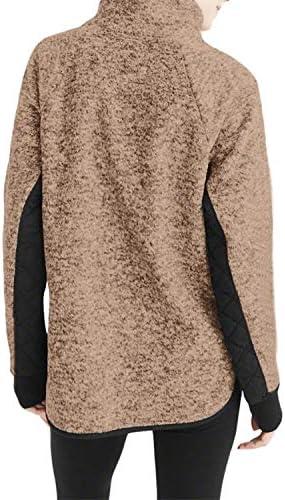 女性のサイドポケットロングスリーブパッチワークぬいぐるみボタンとスエットシャツ