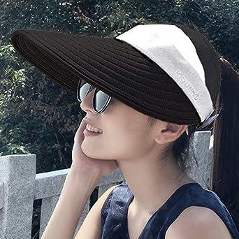 bbf22190c7719 Dingkun Hat Female Summer Casual Sunscreen Outdoor Trip Folding Sun ...