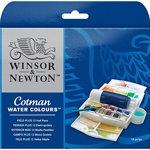 Winsor & Newton Cotman Water Colour Paint Field Plus Set, Set of 12, Half Pans
