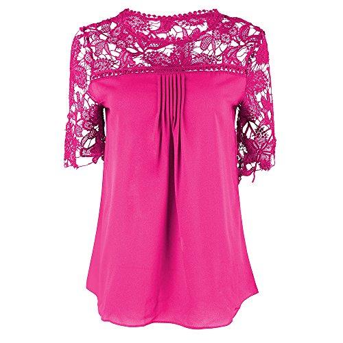 Camicia Donna Elegante Manica Corta Rotondo Collo Tinta Unita Grazioso Moda Larghe in Pizzo Giuntura Chiffon Vintage Classica Cerimonia Moda Casual Estate T-Shirt Maglietta Camicie Top Stlie Rosa